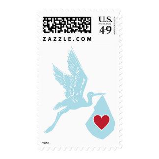 Entrega especial de la cigüeña - franqueo azul sello