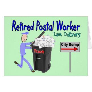Entrega jubilada del último del empleado de correo tarjeta de felicitación