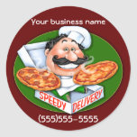 Entrega rápida de la pizza del cocinero italiano t pegatinas redondas