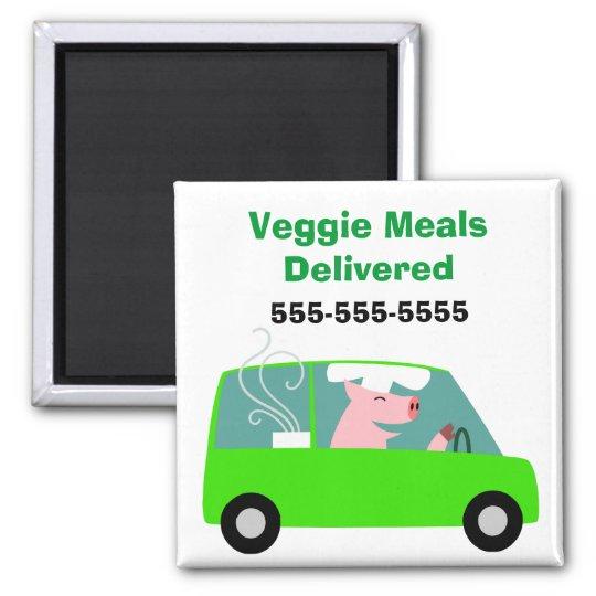 Entrega vegetariana del abastecimiento imán cuadrado