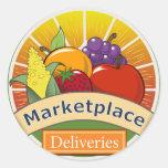Entregas del mercado etiquetas redondas