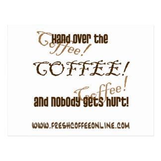 Entregue el café tarjetas postales