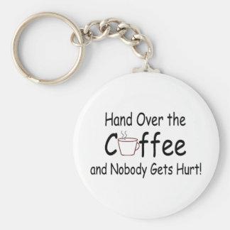 Entregue el café y nadie consigue daño llavero redondo tipo pin