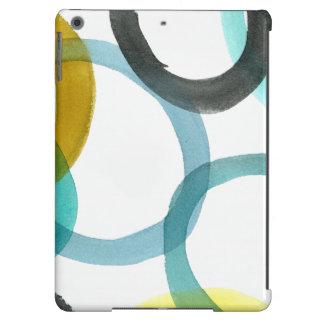 Entrelazar círculos amarillos y azules funda para iPad air