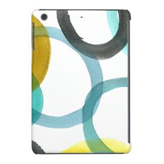 Entrelazar círculos amarillos y azules fundas de iPad mini