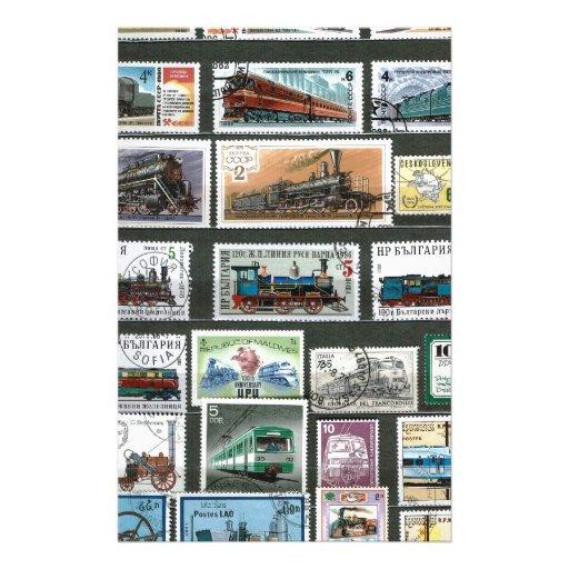 Entrena a las locomotoras de ferrocarriles 4 papelería de diseño