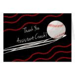 Entrenador de béisbol auxiliar de las gracias, bol tarjeta