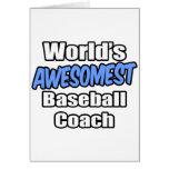 Entrenador de béisbol de Awesomest del mundo Tarjeton