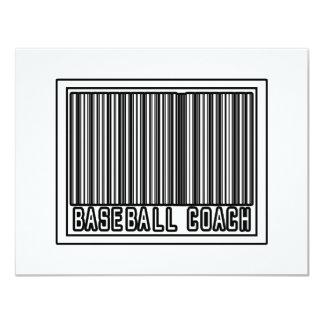 Entrenador de béisbol del código de barras invitación personalizada