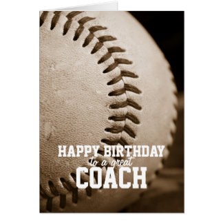 Entrenador de béisbol del feliz cumpleaños tarjeta de felicitación