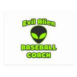 Entrenador de béisbol extranjero malvado tarjeta postal