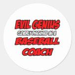 Entrenador de béisbol malvado del genio… etiqueta redonda