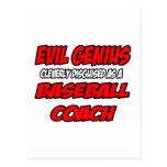 Entrenador de béisbol malvado del genio… tarjetas postales