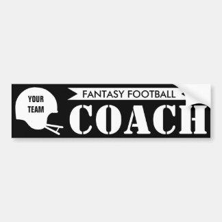 Entrenador de fútbol de la fantasía etiqueta de parachoque