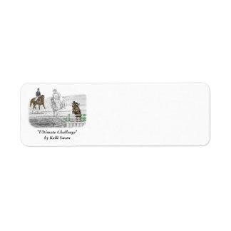 entrenamiento combinado de los caballos de tres etiqueta de remite