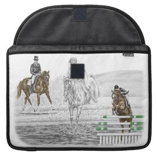 entrenamiento combinado de los caballos de tres fundas para macbook pro