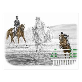entrenamiento combinado de los caballos de tres postales