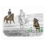 entrenamiento combinado de los caballos de tres tarjeta postal