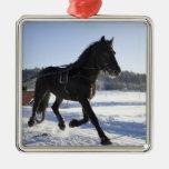 Entrenamiento de caballos en un paisaje hivernal, ornamento para reyes magos