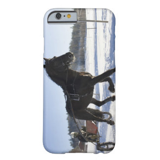 Entrenamiento de caballos en un paisaje hivernal, funda de iPhone 6 barely there