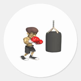 Entrenamiento del boxeador pegatinas redondas