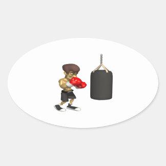Entrenamiento del boxeador calcomanía óval personalizadas
