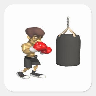 Entrenamiento del boxeador pegatinas cuadradas