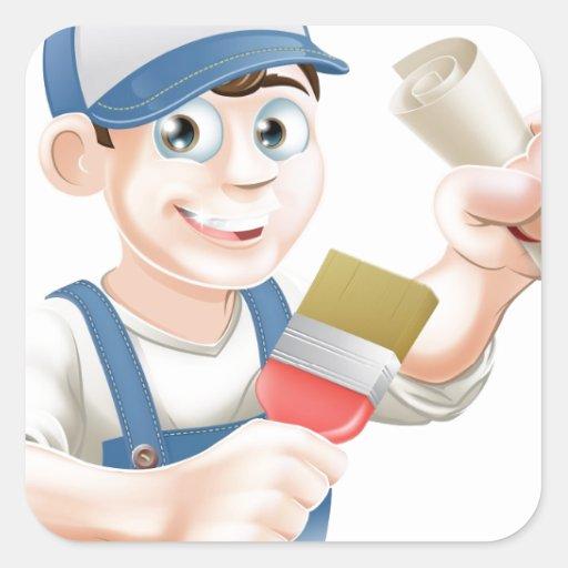 Entrenamiento del decorador del pintor colcomanias cuadradass