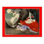 Entrenamiento del samurai con Tengu, circa 1800's Postales