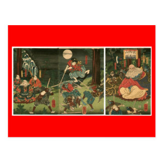 Entrenamiento del samurai con Tengu, circa 1859 Tarjetas Postales