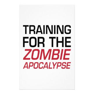 Entrenamiento para la apocalipsis del zombi papeleria personalizada