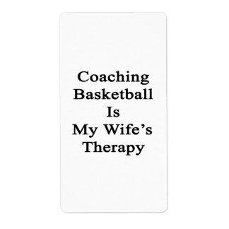 Entrenar baloncesto es la terapia de mi esposa etiquetas de envío