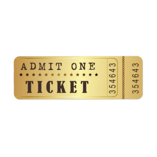 Entrence Entreatment Ticket Show Vintage Gold Label