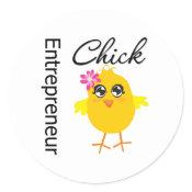 Entrepreneur Chick Classic Round Sticker