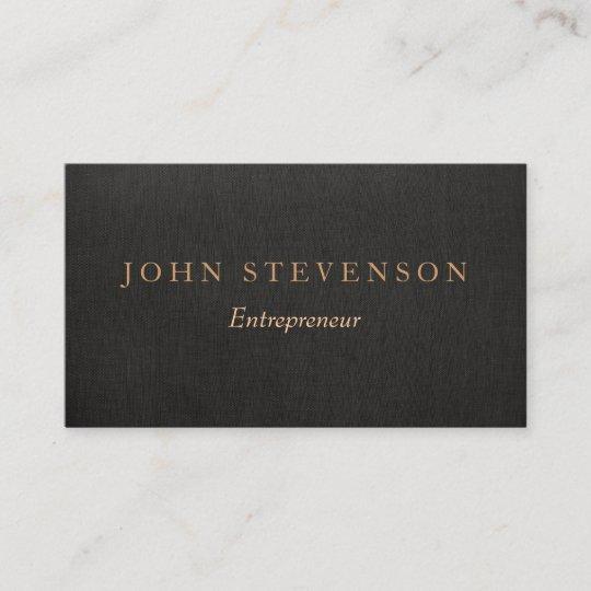 entrepreneur professional black linen look vintage business card - Vintage Business Cards