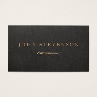 Entrepreneur Professional Black Linen Look Vintage Business Card at Zazzle