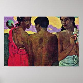 Entretenimiento en Tahití de Gauguin Paul Impresiones