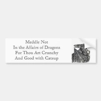 Entrométase no en los asuntos de dragones etiqueta de parachoque