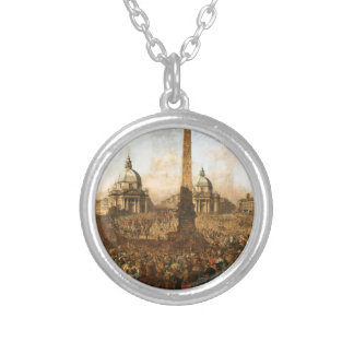 Entry into Rome of Jerzy Ossolinski, Emissary... Round Pendant Necklace