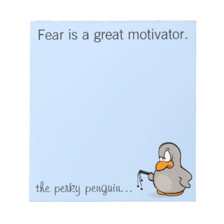 Entry level management skill: motivation thru fear note pad