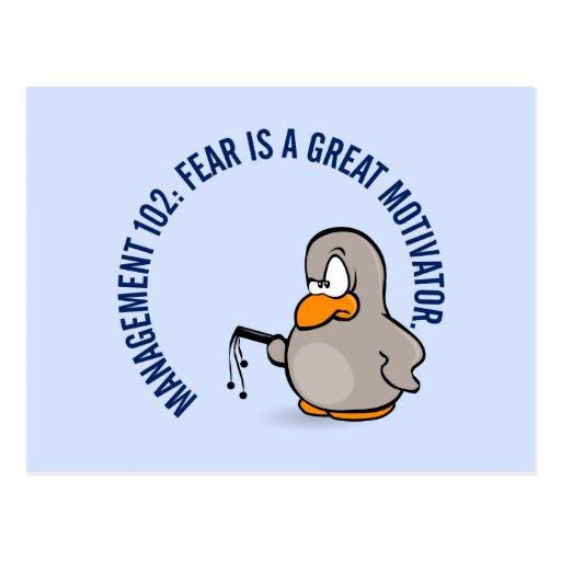 Entry level management skill: motivation thru fear postcard