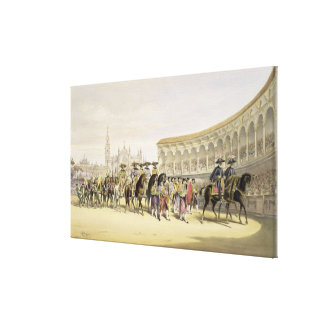 Entry of the Toreros in Procession, 1865 (colour l Canvas Print