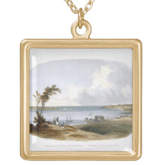 Entry to the Bay of New York taken from Staten Isl Square Pendant Necklace