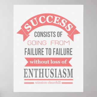 Entusiasmo del fracaso del éxito de la cita de Win Póster