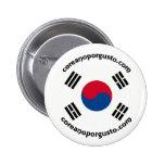 Entusiasmo del por de Chapa de Coreano Pin Redondo De 2 Pulgadas
