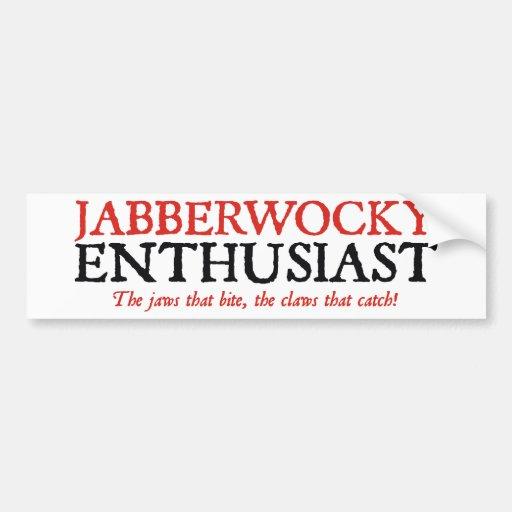 Entusiasta de Jabberwocky Pegatina De Parachoque