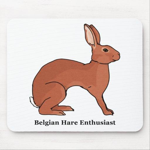 Entusiasta de las liebres belgas alfombrillas de raton