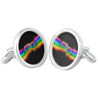 Entwind Gold Hearts on Rainbow Ribbon 3-Cuff Links Cufflinks