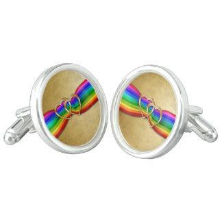 Entwind Gold Hearts on Rainbow Ribbon 4-Cuff Links Cufflinks