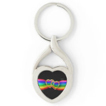 Entwind Gold Hearts on Rainbow Ribbon - Key Chain